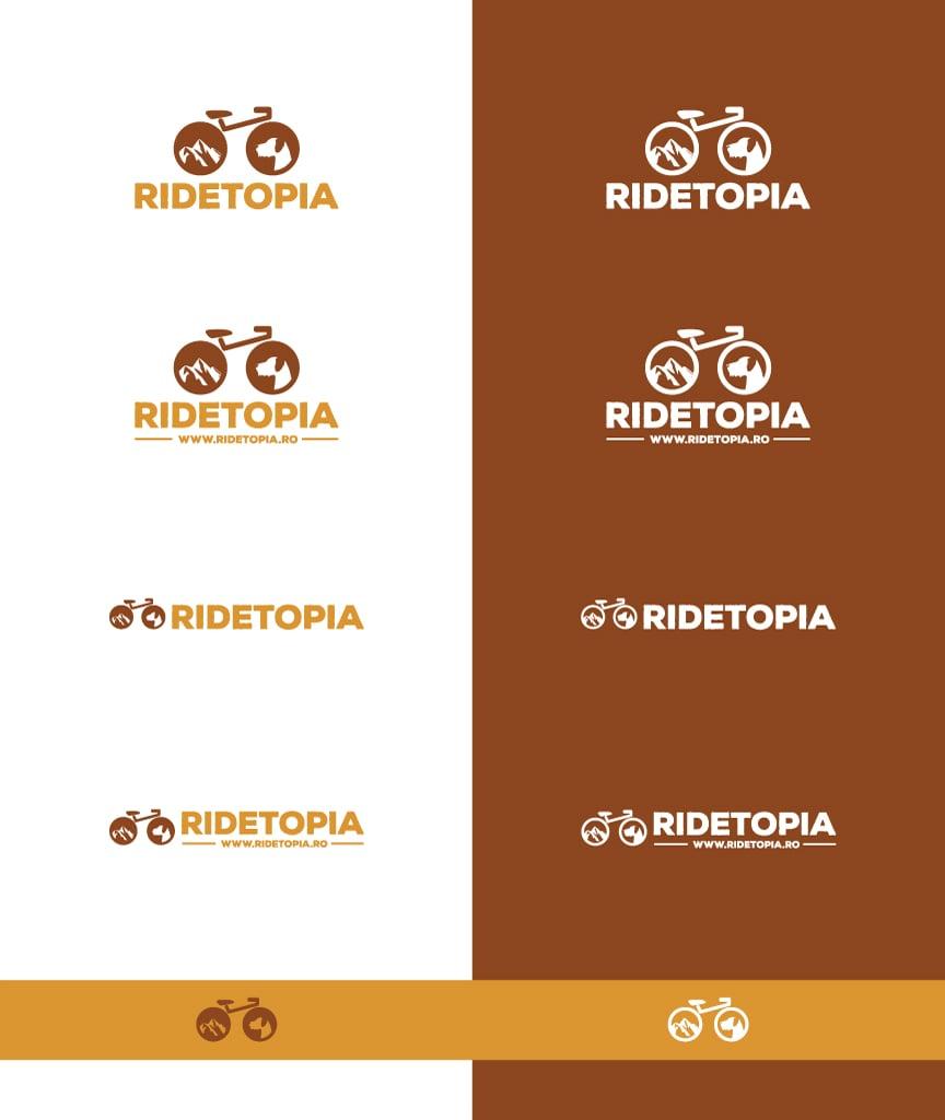 Ridetopia logo változatok